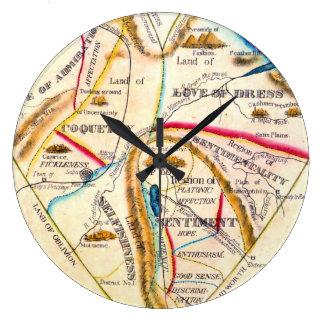 異様な愛感情の感覚のヴィンテージのロマンチックな地図 ラージ壁時計