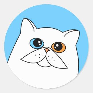 異様な目を持つ白いペルシャ ラウンドシール
