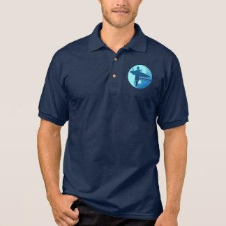 異端者-半分のMoon Bay (青い) ポロシャツ