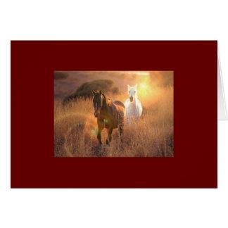 疾走する野生の馬の挨拶状 カード