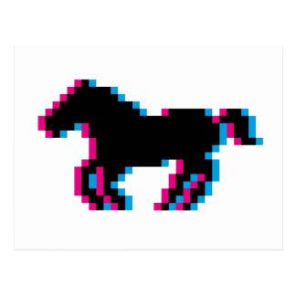 疾走する3Dピクセル馬 ポストカード