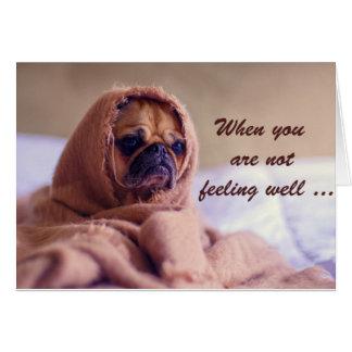 病気のパグ犬、悔やみや弔慰、ユーモア カード