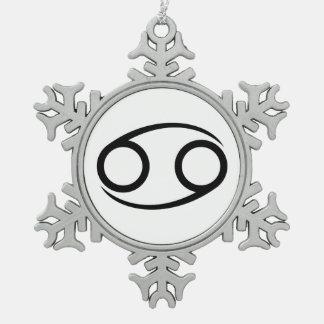 癌のカニのギリシャの占星術の占星術の(占星術の)十二宮図 スノーフレークピューターオーナメント
