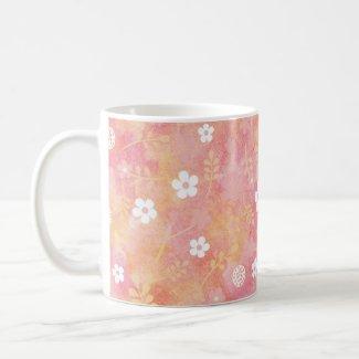 癒やしと愛の花柄模様 ベーシックホワイトマグカップ