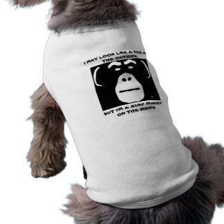 発言を用いる波のMunkey犬のTシャツ…. ペット服