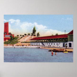 発電所のAshtabulaオハイオ州の浸るビーチ ポスター