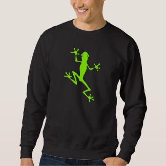 登山のライムグリーンのカエルのシルエット スウェットシャツ