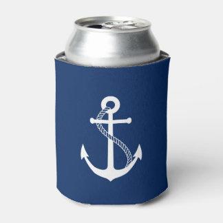 白いいかりが付いている航海のな濃紺 缶クーラー