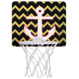 白いいかりが付いている黒および金ゴールドシェブロン ミニバスケットボールゴール