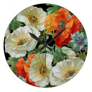 白いおよびオレンジヴィンテージのケシの花の柱時計 ラージ壁時計