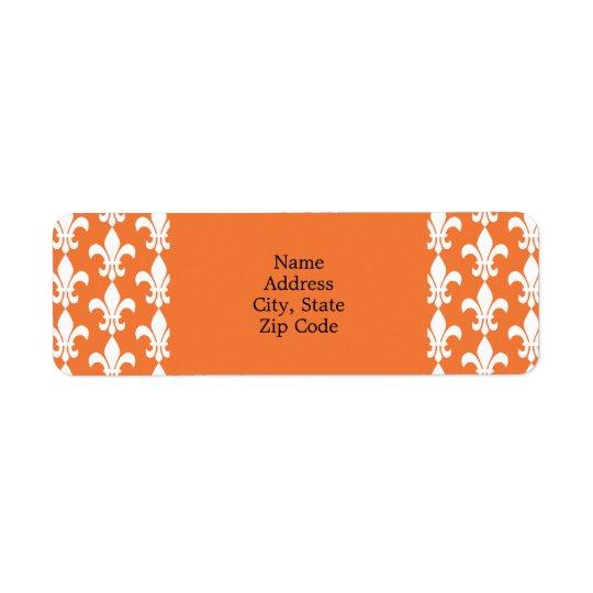 白いおよびオレンジ(紋章の)フラ・ダ・リパターン 返信用宛名ラベル