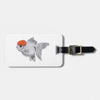 白いおよびオレンジOrandaの金魚のアクアリウムペット魚 ラゲッジタグ