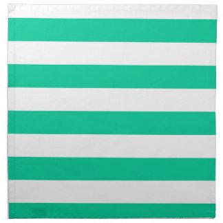 -白いおよびカリブの緑縞で飾ります ナプキンクロス