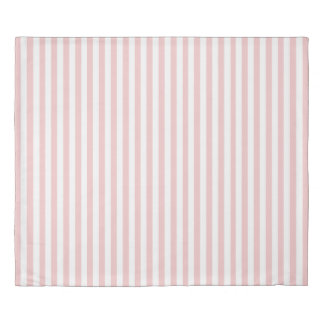 白いおよび淡いピンクのバラのストライプのな羽毛布団 掛け布団カバー