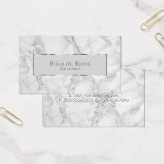 白いおよび灰色の大理石および金属銀製のデザイン 名刺