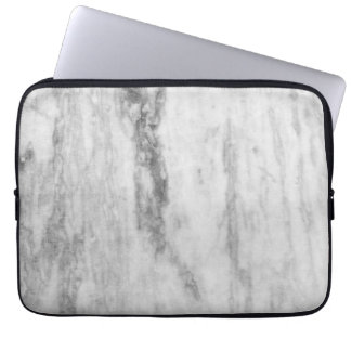白いおよび灰色の大理石の質パターン ラップトップスリーブ