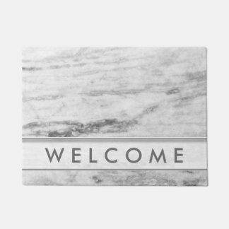 白いおよび灰色の大理石パターン歓迎 ドアマット