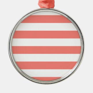 -白いおよび珊瑚のピンク縞で飾ります メタルオーナメント