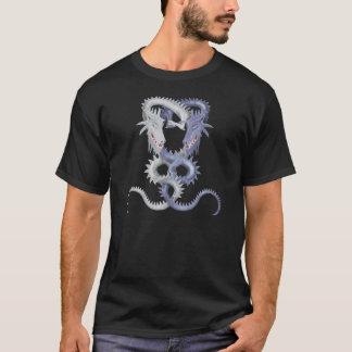 白いおよび紫色の二重ドラゴン Tシャツ