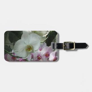 白いおよび紫色の蘭 ラゲッジタグ