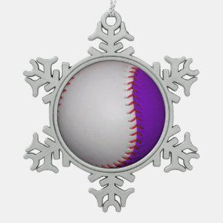 白いおよび紫色の野球/ソフトボール ピューター製スノーフレークオーナメント