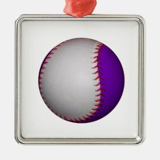 白いおよび紫色の野球/ソフトボール メタルオーナメント