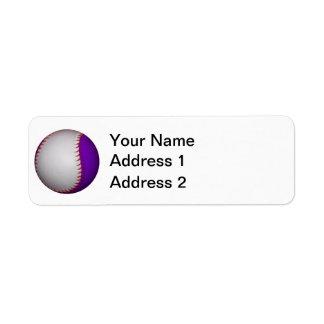 白いおよび紫色の野球/ソフトボール ラベル