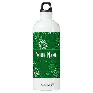 白いおよび緑の花柄 ウォーターボトル