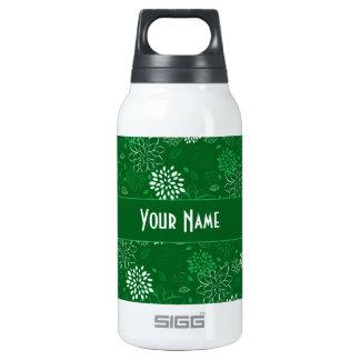 白いおよび緑の花柄 断熱ウォーターボトル