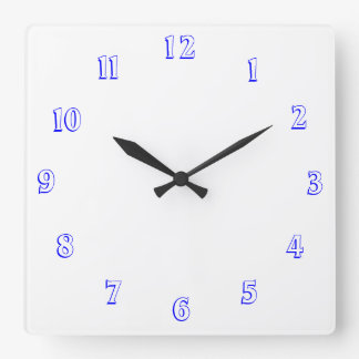 白いおよび青>明白な台所時計 スクエア壁時計