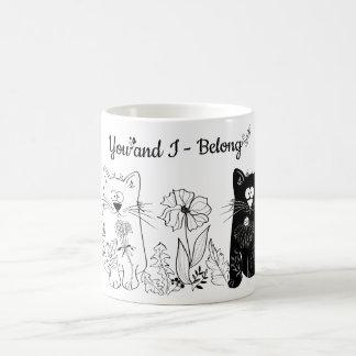 白いおよび黒猫 コーヒーマグカップ