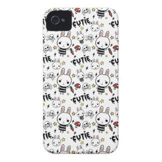 白いかわいこちゃんのバニーパターンブラックベリーの箱 Case-Mate iPhone 4 ケース