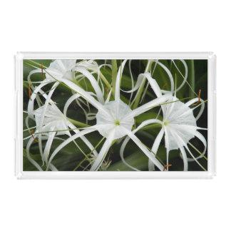 白いくもユリの花柄 アクリルトレー