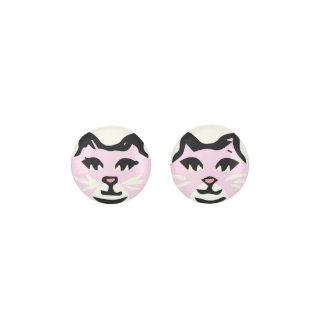 白いひげを搭載する淡いピンク及び白いCAT ピアス