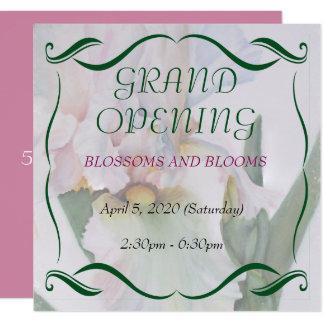 白いアイリス水彩画の花のオープン招待 カード