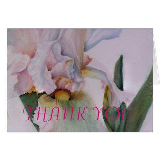 白いアイリス水彩画の花のサンキューカード カード