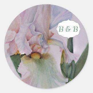 白いアイリス水彩画の花のステッカー ラウンドシール