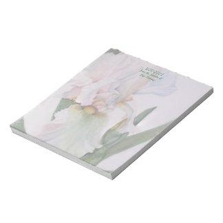 白いアイリス水彩画の花のメモ帳 ノートパッド