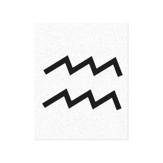 白いアクエリアス2の(占星術の)十二宮図1月20日- 2月18日 キャンバスプリント
