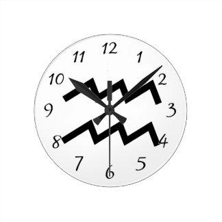 白いアクエリアス2の(占星術の)十二宮図1月20日- 2月18日 ラウンド壁時計