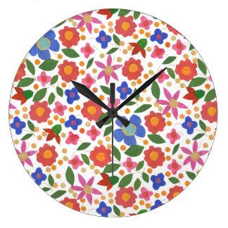 白いアクリルの柱時計の民芸のスタイルの花柄 ラージ壁時計