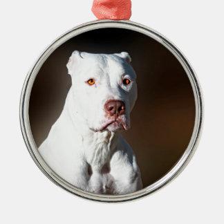 白いアメリカのピットブルテリアの救助犬 メタルオーナメント