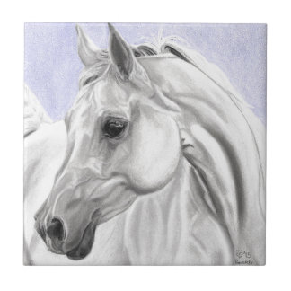 白いアラビアの馬のオリジナルの芸術 タイル