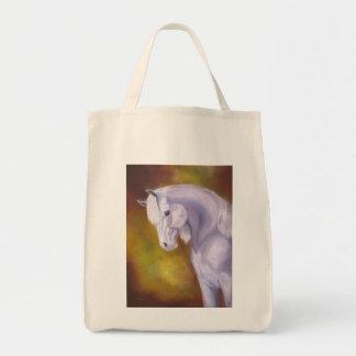 白いアラビアの馬の買い物袋 トートバッグ