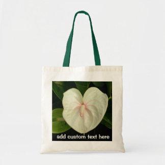 白いアンスリウム属の熱帯花 トートバッグ