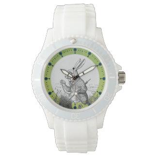 白いウサギのアリスの(不思議の国で)スポーツの腕時計 腕時計