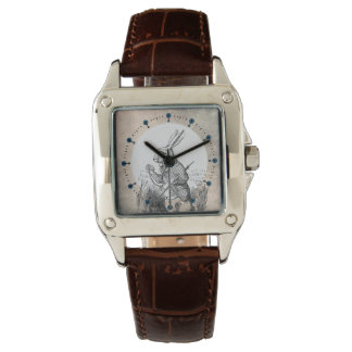 白いウサギのアリスの(不思議の国で)正方形の腕時計 腕時計