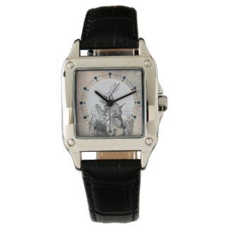白いウサギのアリスの(不思議の国で)革腕時計 腕時計