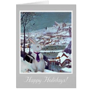 白いウサギのクリスマス-ヴィンテージの芸術カード カード