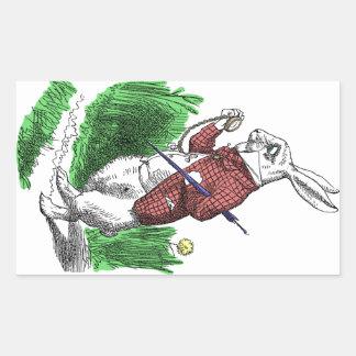 白いウサギのステッカー 長方形シール